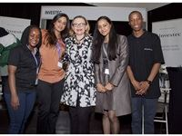 Premier of the Western Cape - Helen Zille with the Investec mentor team whom attended the FutureMe - World of Work (WoW) festival, at Christel House.