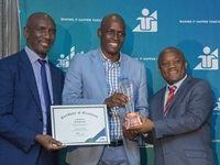 "Dr Mandla Gantsho, Ithala Group Chairman; Sandile Ntuli, ""Entrepreneur of the Year"" award winner and Sihle Zikalala, MEC for Economic Development, Tourism and Environmental Affairs in KZN"