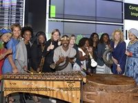 Blowing the kudu horn and celebrating the opening of the JSE