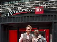 Dale Simpson (RED Curator) with Siya Beyile (South African designer)
