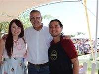 Katelyn Allegra The Kate Tin blogger, Johan Ehlers Agri-Expo CEO and Antonino Allegra Afrikoa