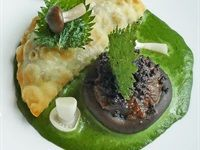 Denny Mushroom and hemp seed empanada braised shiitake and walnut miso Jane Therese Mulry Saxon Hotel Villas and Spa