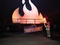 The #600 Flames wooden structure about to be lit